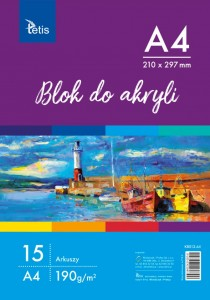 Blok do akryli A4 190g 15 ark. Tetis