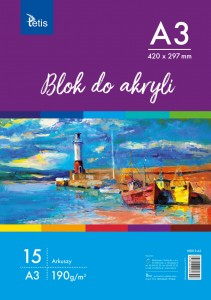 Blok do akryli A3 190g 15 ark. Tetis